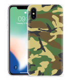 Apple iPhone Xs Hoesje Army Camouflage Green