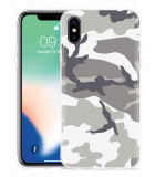 Apple iPhone Xs Hoesje Army Camouflage Grey