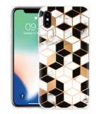 Apple iPhone Xs Hoesje Black-white-gold Marble