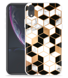 Apple iPhone Xr Hoesje Black-white-gold Marble