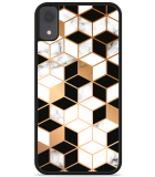 iPhone Xr Hardcase hoesje Black-white-gold Marble