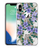 Apple iPhone Xs Hoesje Purple Flowers