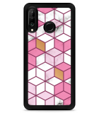 Huawei P30 Lite Hardcase hoesje Pink-gold-white Marble