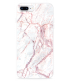 iPhone 8 Plus Hoesje White Pink Marble