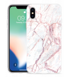 Apple iPhone X Hoesje White Pink Marble