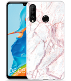 Huawei P30 Lite Hoesje White Pink Marble