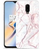 OnePlus 6T Hoesje White Pink Marble