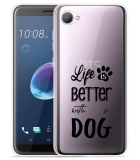 Desire 12 Hoesje Life Is Better With a Dog - zwart
