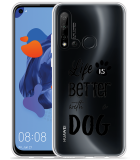 P20 Lite 2019 Hoesje Life Is Better With a Dog - zwart