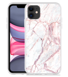 Apple iPhone 11 Hoesje White Pink Marble