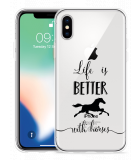 Apple iPhone Xs Hoesje Life is Better with Horses