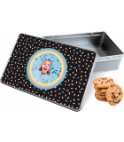 Koektrommel Confetti Vibes met eigen foto - rechthoek 20 x 13 x 5 cm