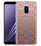 Samsung Galaxy A8 2018 Hoesje Orange Soccer Balls