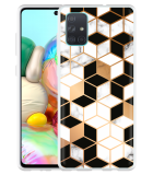 Samsung Galaxy A71 Hoesje Black-white-gold Marble