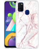 Samsung Galaxy M21 Hoesje White Pink Marble