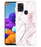 Samsung Galaxy A21s Hoesje White Pink Marble