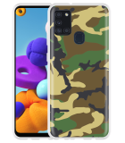 Samsung Galaxy A21s Hoesje Army Camouflage Green