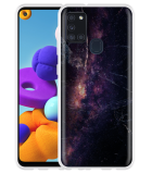 Samsung Galaxy A21s Hoesje Black Space Marble