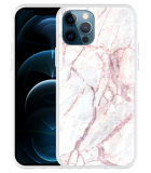 Apple iPhone 12 Pro Hoesje White Pink Marble