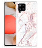 Samsung Galaxy A42 Hoesje White Pink Marble