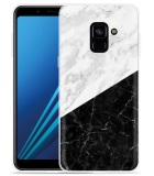 Samsung Galaxy A8 2018 Hoesje Zwart Wit Marmer
