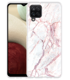Samsung Galaxy A12 Hoesje White Pink Marble