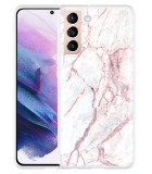 Samsung Galaxy S21 Hoesje White Pink Marble