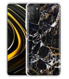 Xiaomi Poco M3 Hoesje Zwart Goud Marmer