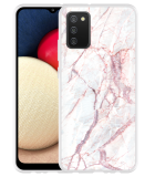 Samsung Galaxy A02s Hoesje White Pink Marble