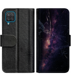 Galaxy A22 4G Hoesje - Book Case Black Space Marble
